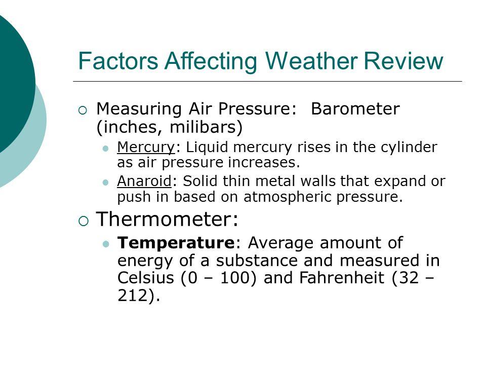 Factors Affecting Weather Review  Measuring Air Pressure: Barometer (inches, milibars) Mercury: Liquid mercury rises in the cylinder as air pressure