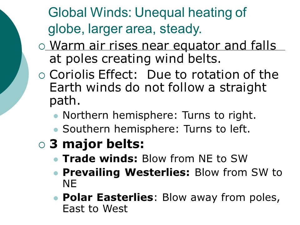 Global Winds: Unequal heating of globe, larger area, steady.  Warm air rises near equator and falls at poles creating wind belts.  Coriolis Effect: