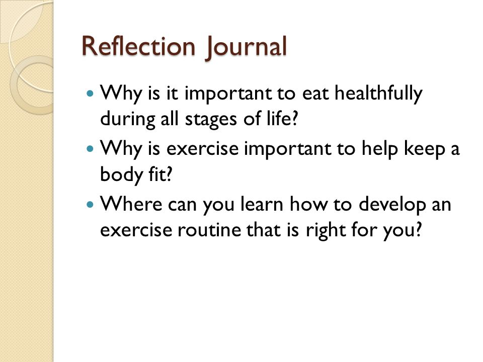 Reflection Journal Why is it important to eat healthfully during all stages of life? Why is exercise important to help keep a body fit? Where can you