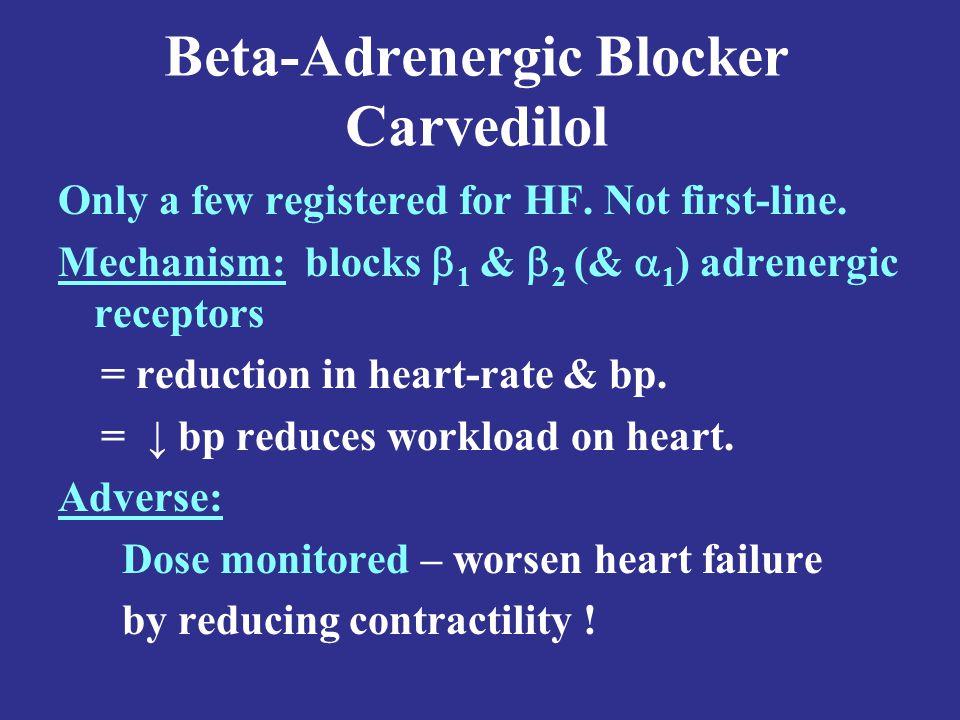 Beta-Adrenergic Blocker Carvedilol Only a few registered for HF.
