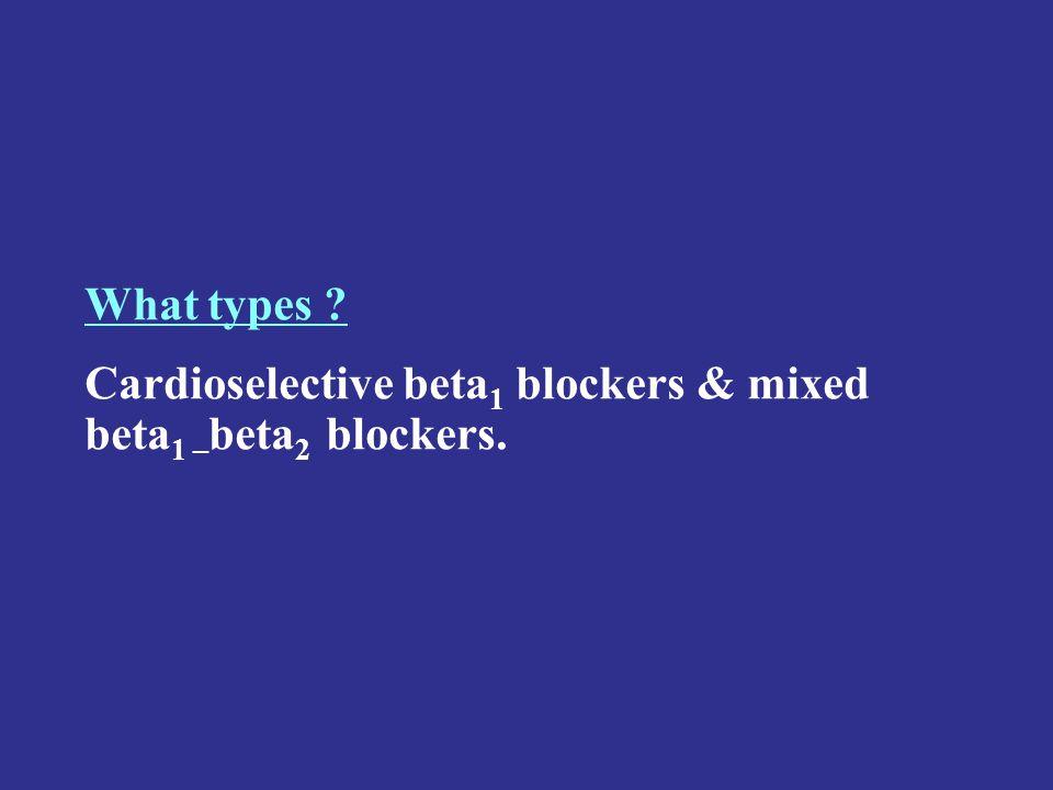 What types ? Cardioselective beta 1 blockers & mixed beta 1 – beta 2 blockers.