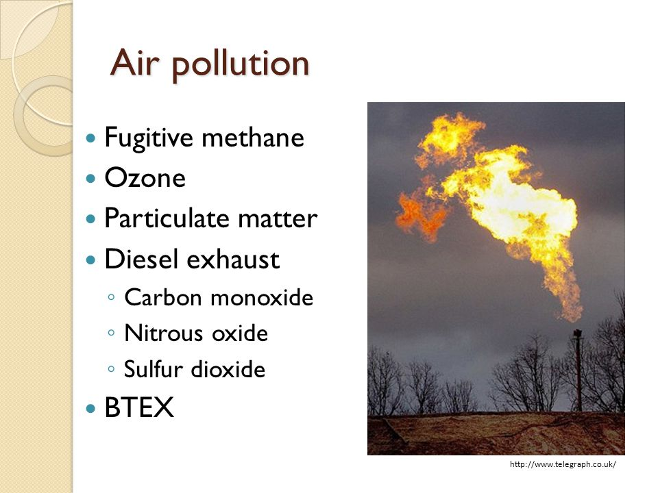 Air pollution Fugitive methane Ozone Particulate matter Diesel exhaust ◦ Carbon monoxide ◦ Nitrous oxide ◦ Sulfur dioxide BTEX http://www.telegraph.co.uk/