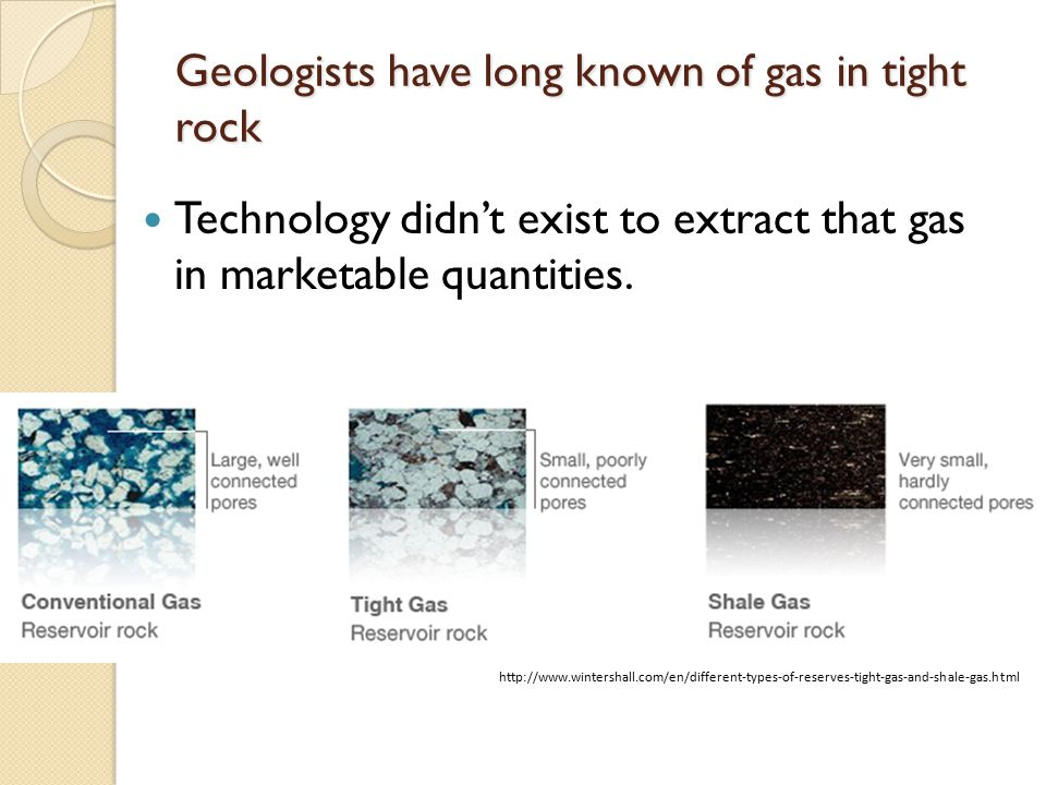 Geologists have long known of gas in tight rock Technology didn't exist to extract that gas in marketable quantities.