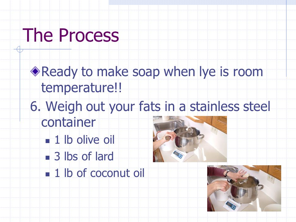 The Process Ready to make soap when lye is room temperature!! 6. Weigh out your fats in a stainless steel container 1 lb olive oil 3 lbs of lard 1 lb
