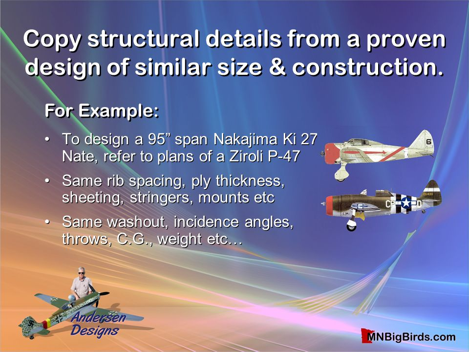 "Copy structural details from a proven design of similar size & construction. To design a 95"" span Nakajima Ki 27 Nate, refer to plans of a Ziroli P-47"