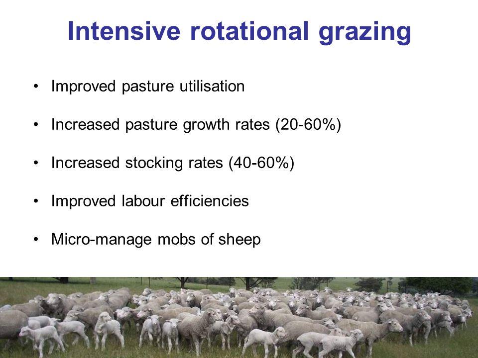 Improved pasture utilisation Increased pasture growth rates (20-60%) Increased stocking rates (40-60%) Improved labour efficiencies Micro-manage mobs