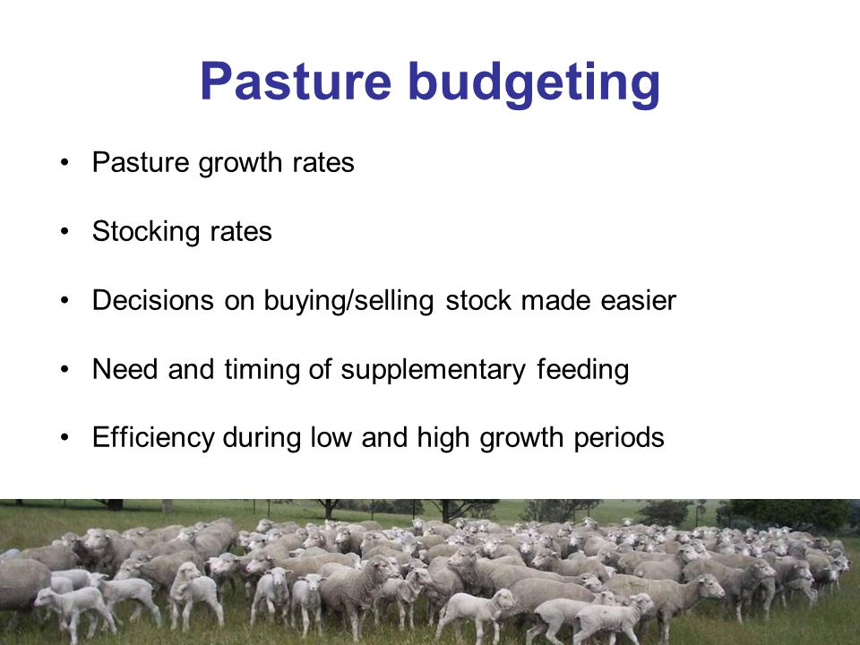Pasture budgeting Pasture growth rates Stocking rates Decisions on buying/selling stock made easier Need and timing of supplementary feeding Efficiency during low and high growth periods