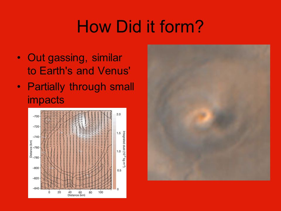 How Did it form Out gassing, similar to Earth s and Venus Partially through small impacts