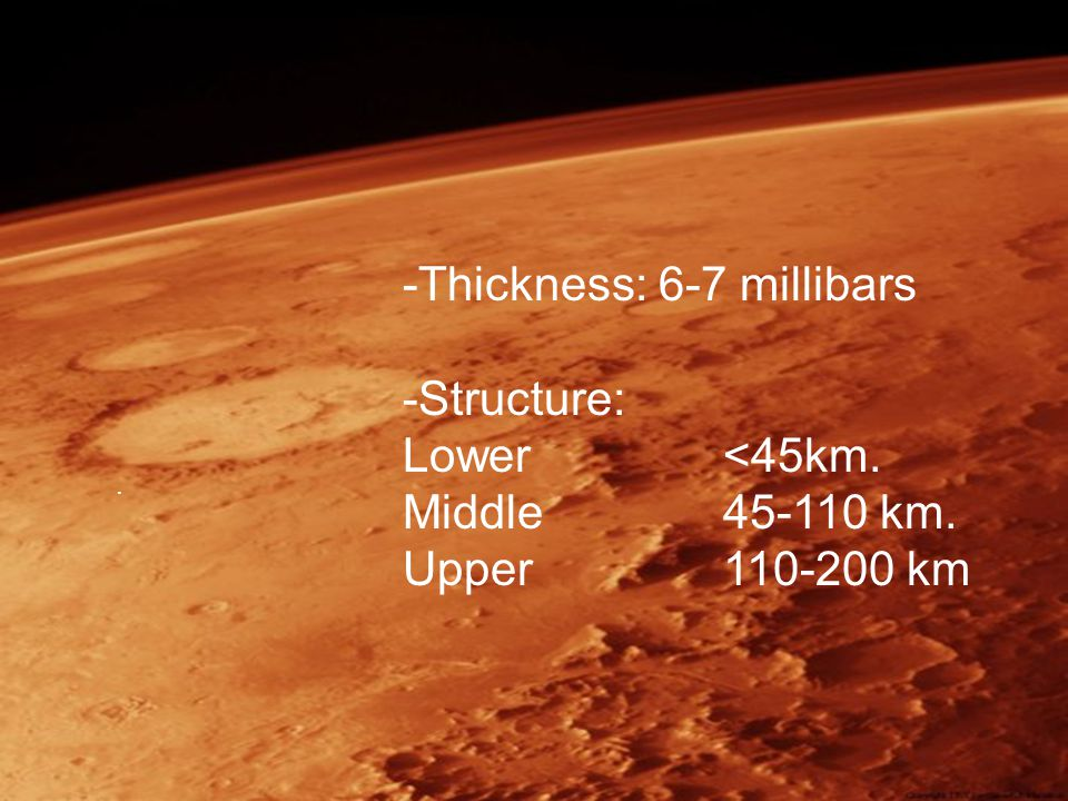. -Thickness: 6-7 millibars -Structure: Lower<45km. Middle45-110 km. Upper110-200 km