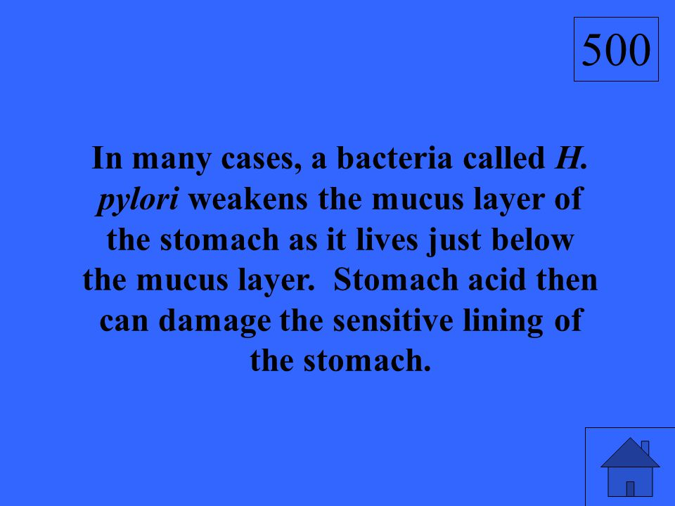 In many cases, a bacteria called H. pylori weakens the mucus layer of the stomach as it lives just below the mucus layer. Stomach acid then can damage