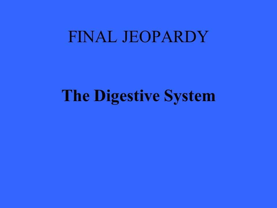 FINAL JEOPARDY The Digestive System