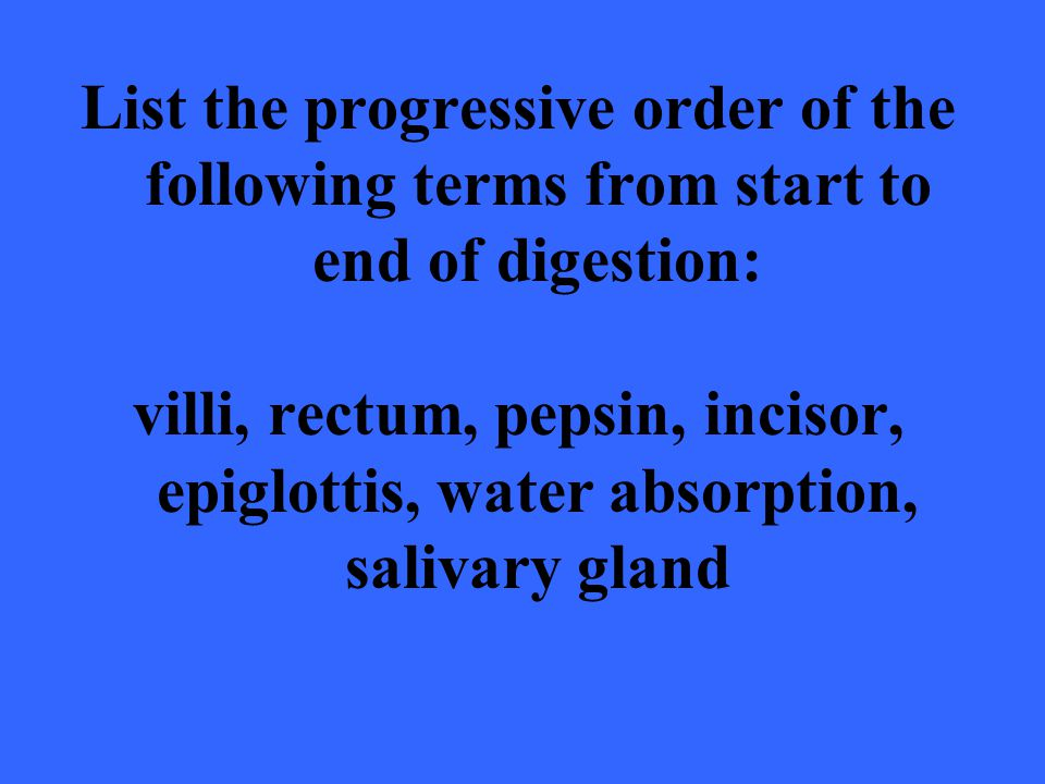 List the progressive order of the following terms from start to end of digestion: villi, rectum, pepsin, incisor, epiglottis, water absorption, saliva