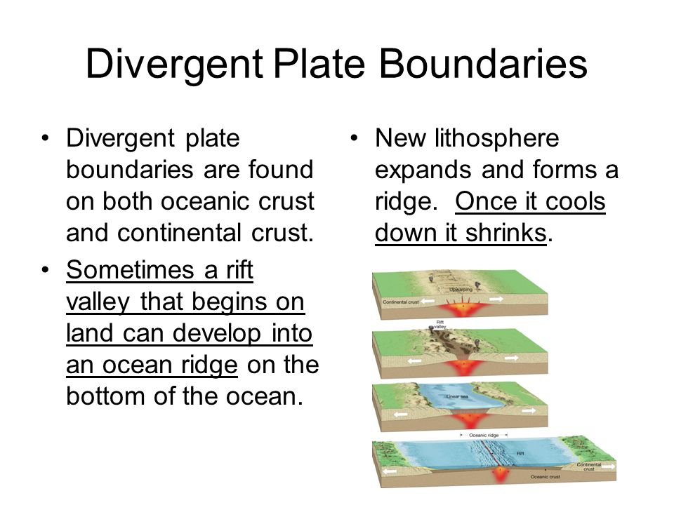 Divergent Plate Boundaries Divergent plate boundaries are found on both oceanic crust and continental crust. Sometimes a rift valley that begins on la