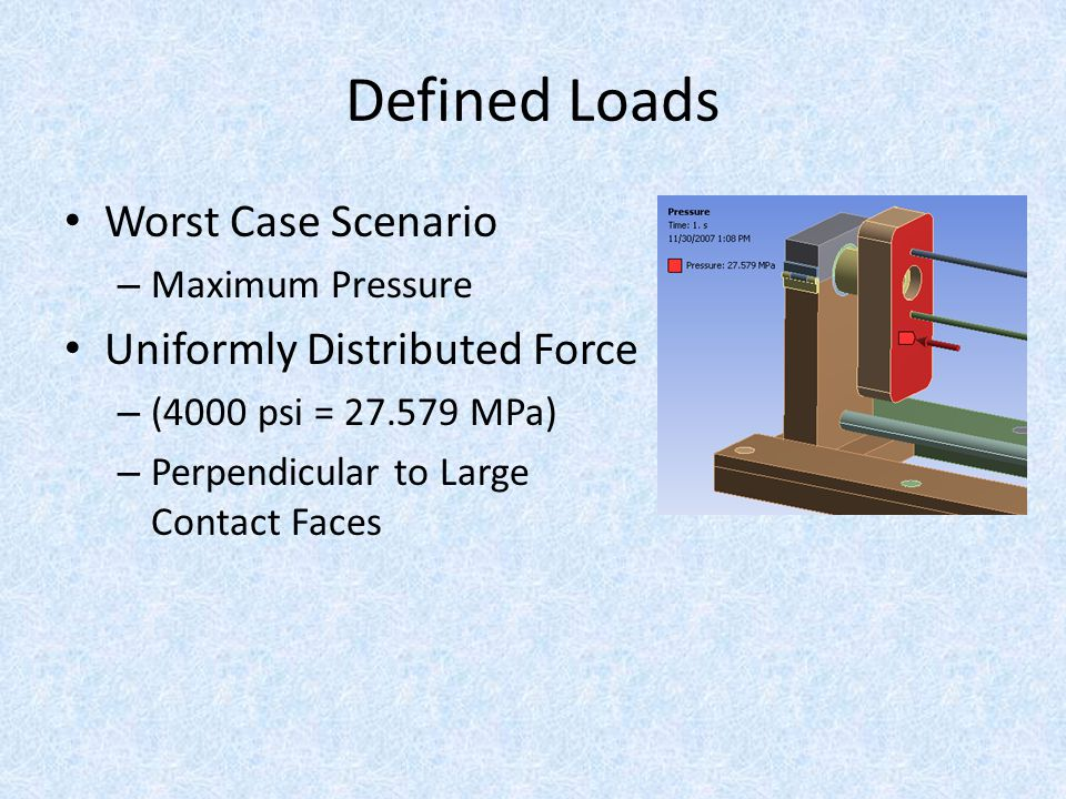 Defined Loads Worst Case Scenario – Maximum Pressure Uniformly Distributed Force – (4000 psi = 27.579 MPa) – Perpendicular to Large Contact Faces