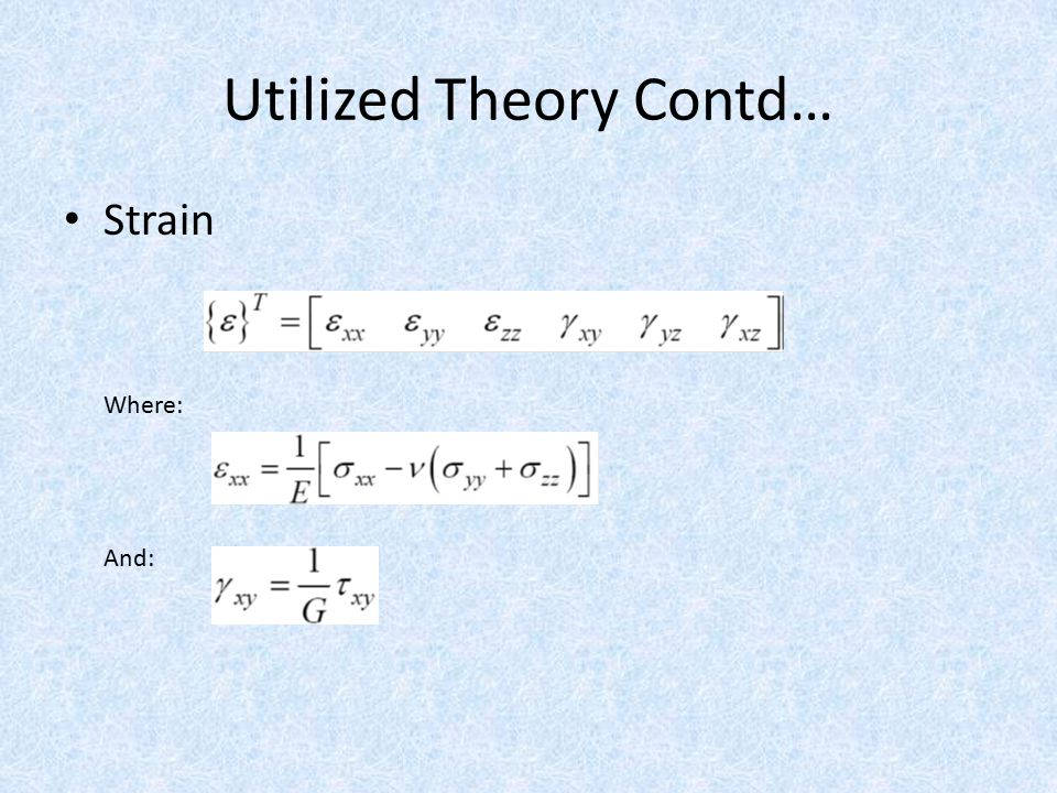 Utilized Theory Contd… Strain Where: And: