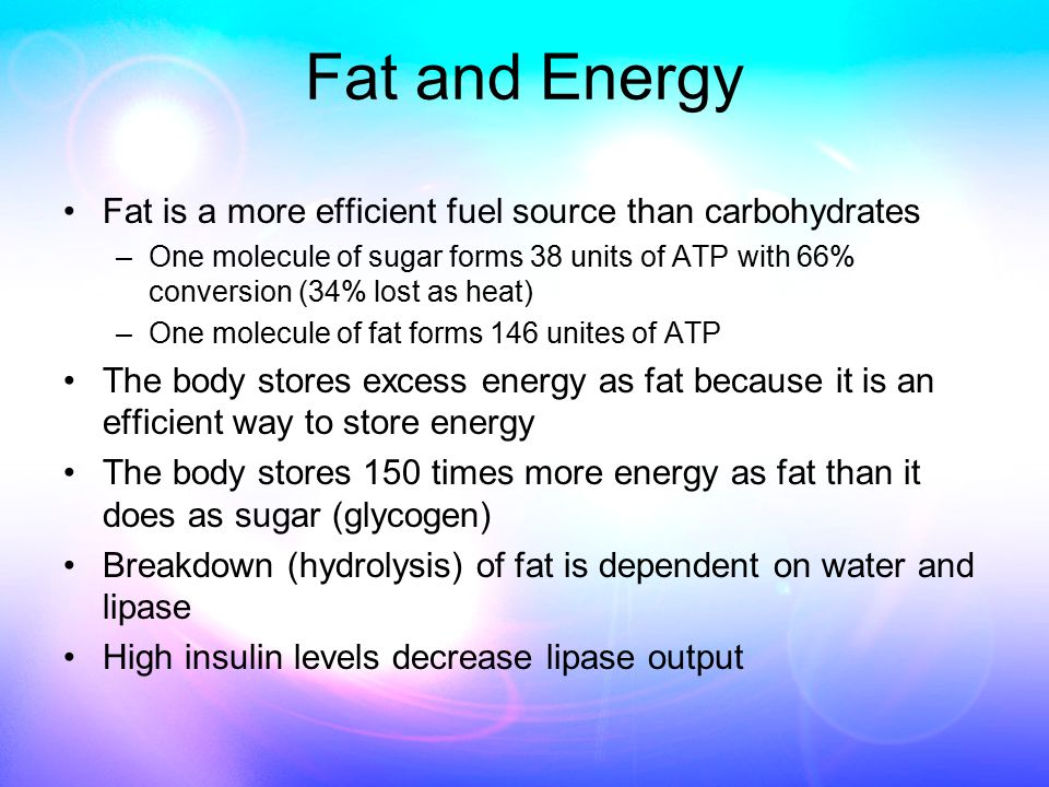 Fat and Energy Fat is a more efficient fuel source than carbohydrates –One molecule of sugar forms 38 units of ATP with 66% conversion (34% lost as heat) –One molecule of fat forms 146 unites of ATP The body stores excess energy as fat because it is an efficient way to store energy The body stores 150 times more energy as fat than it does as sugar (glycogen) Breakdown (hydrolysis) of fat is dependent on water and lipase High insulin levels decrease lipase output