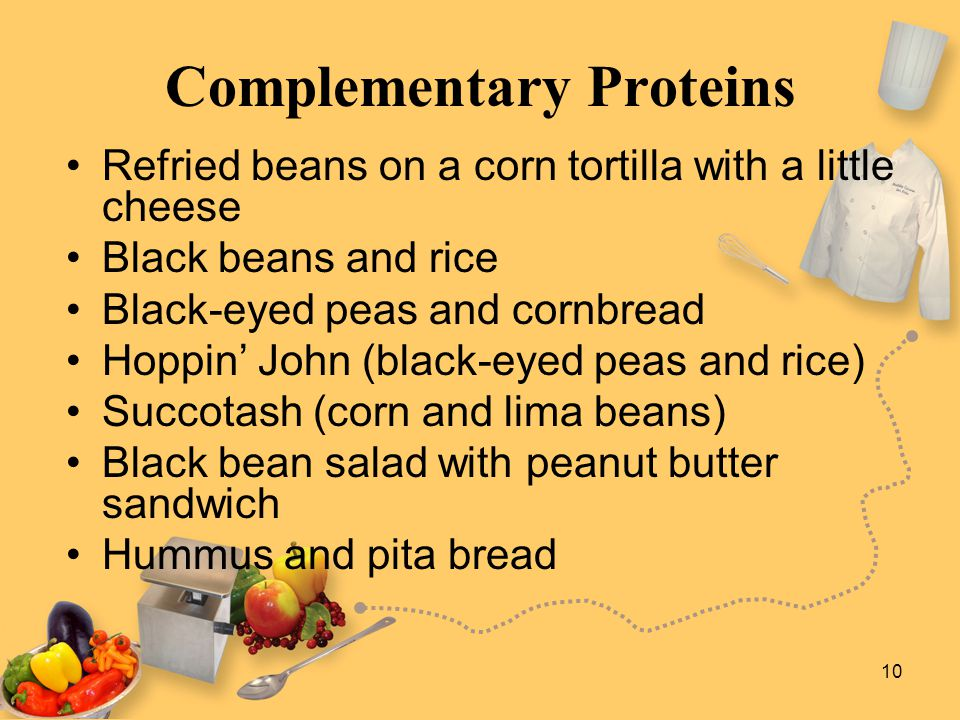 10 Complementary Proteins Refried beans on a corn tortilla with a little cheese Black beans and rice Black-eyed peas and cornbread Hoppin' John (black
