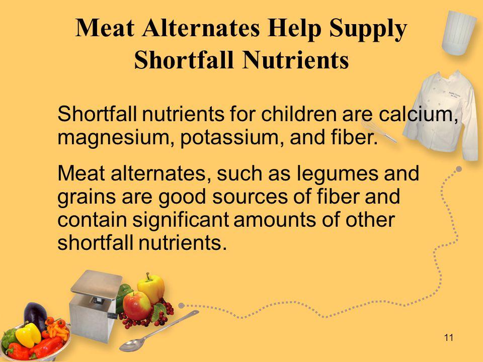 11 Meat Alternates Help Supply Shortfall Nutrients Shortfall nutrients for children are calcium, magnesium, potassium, and fiber.