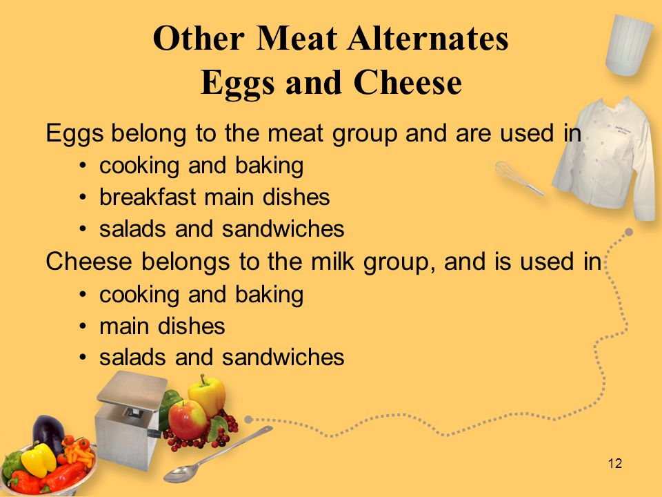 12 Other Meat Alternates Eggs and Cheese Eggs belong to the meat group and are used in cooking and baking breakfast main dishes salads and sandwiches