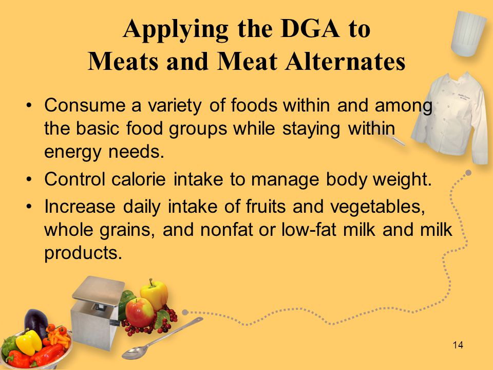 14 Applying the DGA to Meats and Meat Alternates Consume a variety of foods within and among the basic food groups while staying within energy needs.