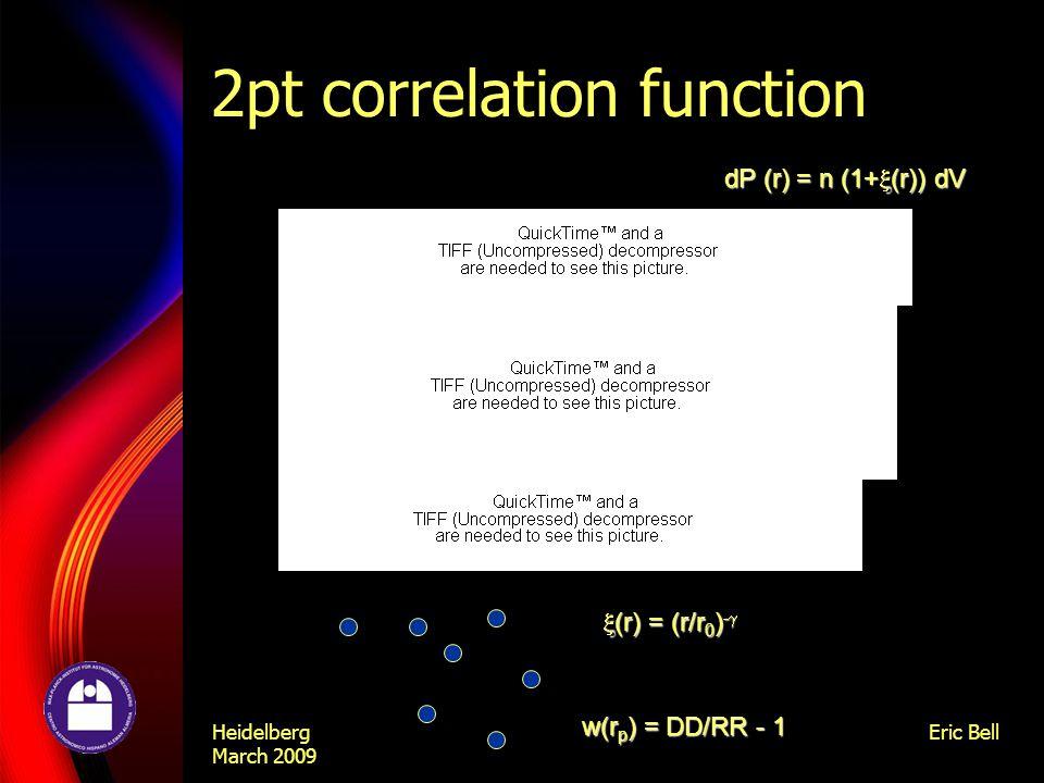 Heidelberg March 2009 Eric Bell 2pt correlation function w(r p ) = DD/RR - 1 dP (r) = n (1+  (r)) dV  (r) = (r/r 0 ) - 