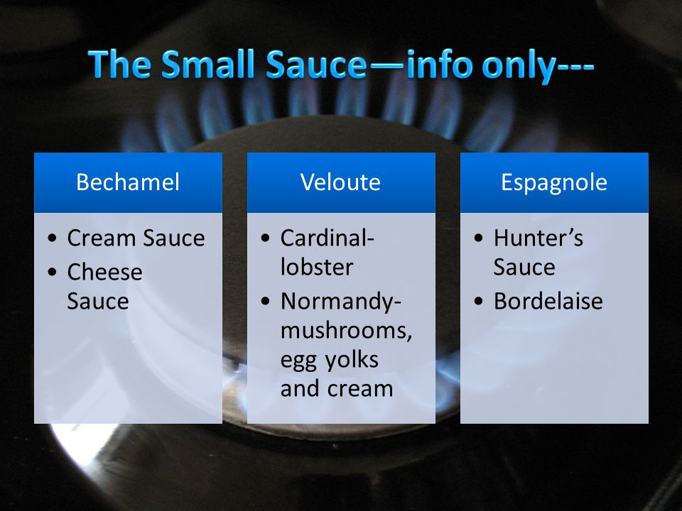 Cream Sauce Cheese Sauce Veloute Cardinal- lobster Normandy- mushrooms, egg yolks and cream Espagnole Hunter's Sauce Bordelaise