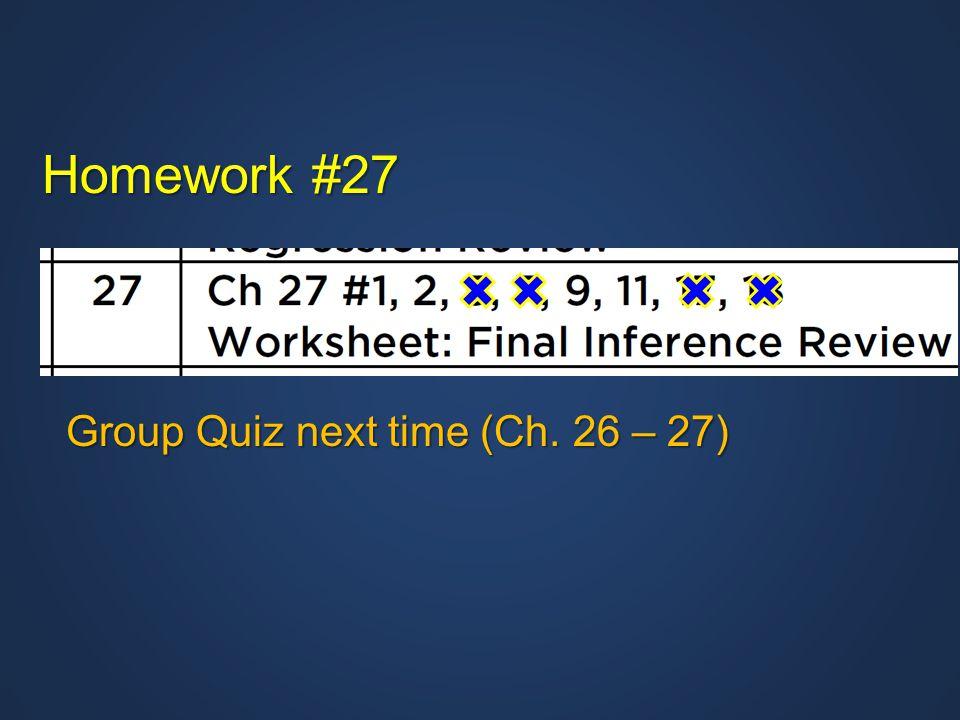 Homework #27 Group Quiz next time (Ch. 26 – 27)