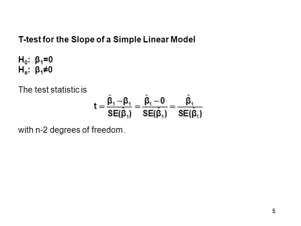 5 T-test for the Slope of a Simple Linear Model H 0 : β 1 =0 H a : β 1 ≠0 The test statistic is with n-2 degrees of freedom.