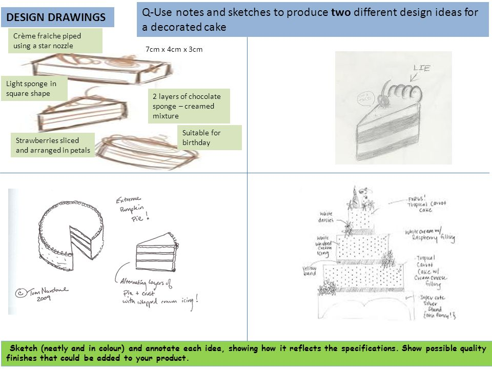 DESIGN DRAWINGS Q-Use notes and sketches to produce two different design ideas for a decorated cake Sketch (neatly and in colour) and annotate each id