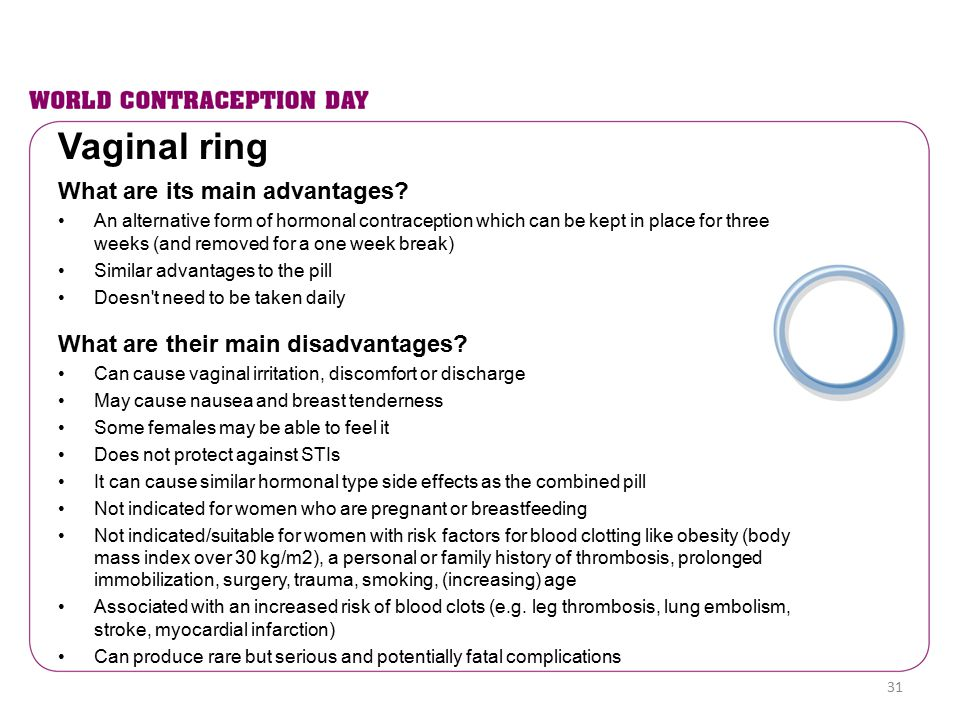 What are its main advantages? An alternative form of hormonal contraception which can be kept in place for three weeks (and removed for a one week bre