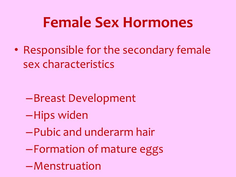 Female Sex Hormones Responsible for the secondary female sex characteristics – Breast Development – Hips widen – Pubic and underarm hair – Formation o
