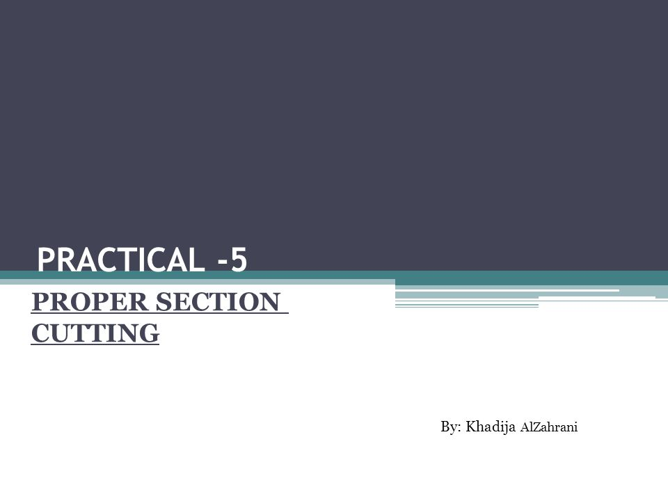 PRACTICAL -5 PROPER SECTION CUTTING By: Khadija AlZahrani