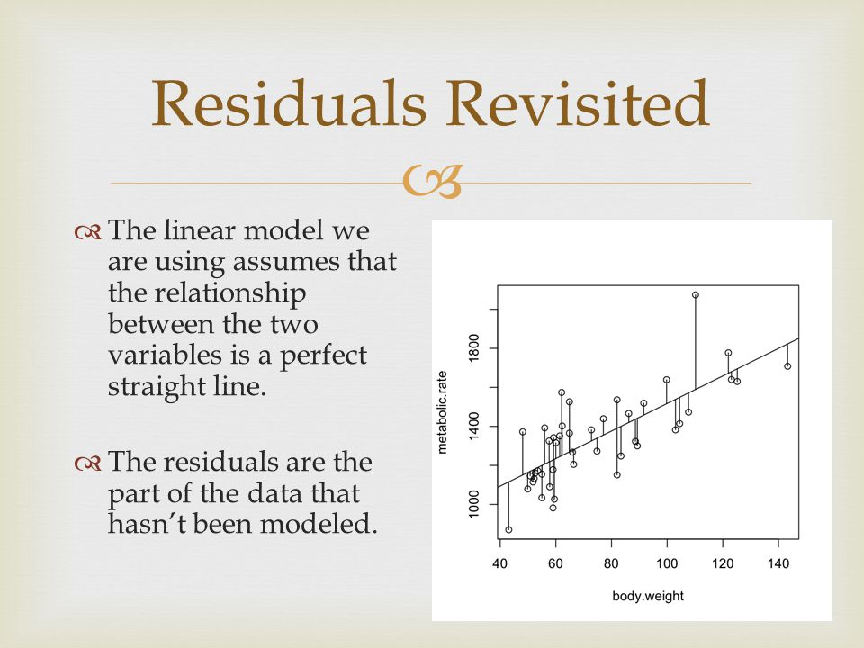   The linear model we are using assumes that the relationship between the two variables is a perfect straight line.