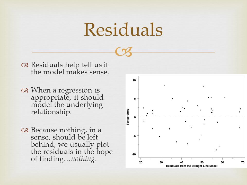   Residuals help tell us if the model makes sense.