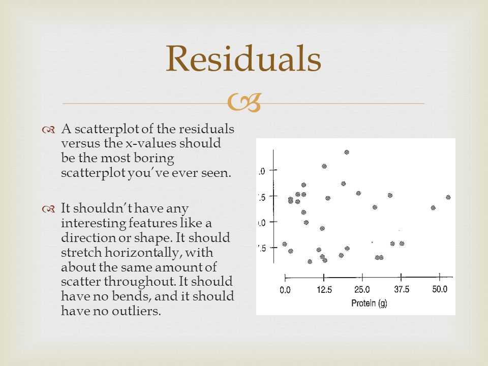  Residuals  A scatterplot of the residuals versus the x-values should be the most boring scatterplot you've ever seen.