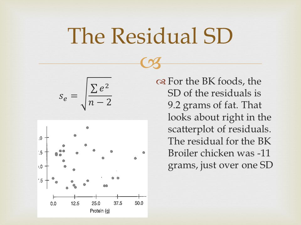  The Residual SD  It is a good idea to make a histogram of the residuals.