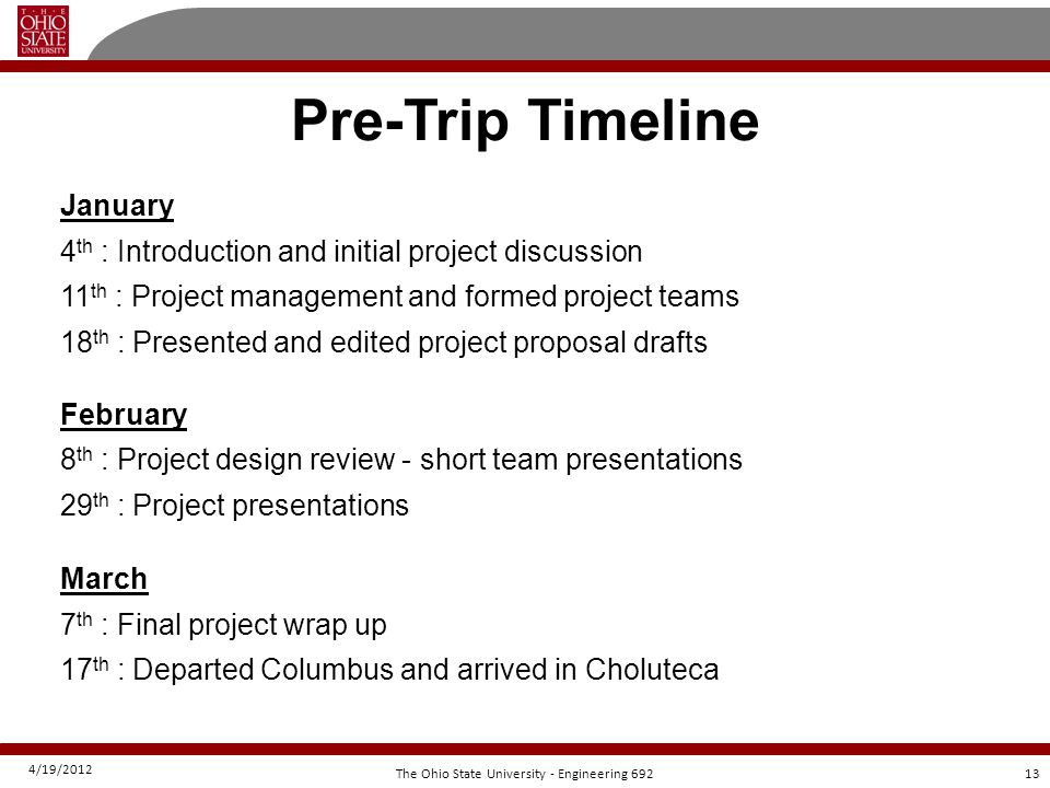 4/19/2012 13The Ohio State University - Engineering 692 Pre-Trip Timeline January 4 th : Introduction and initial project discussion 11 th : Project m