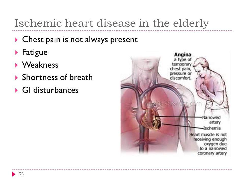 Ischemic heart disease in the elderly 36  Chest pain is not always present  Fatigue  Weakness  Shortness of breath  GI disturbances