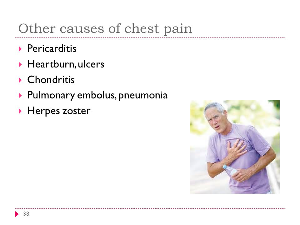 Other causes of chest pain 38  Pericarditis  Heartburn, ulcers  Chondritis  Pulmonary embolus, pneumonia  Herpes zoster