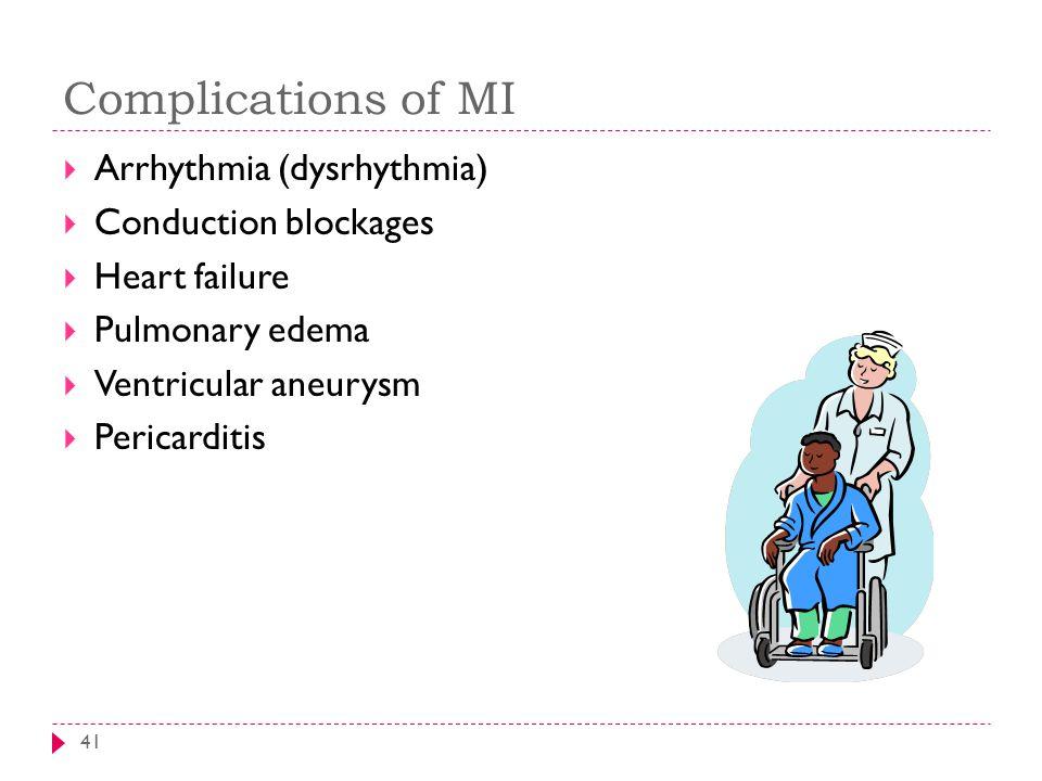 Complications of MI 41  Arrhythmia (dysrhythmia)  Conduction blockages  Heart failure  Pulmonary edema  Ventricular aneurysm  Pericarditis