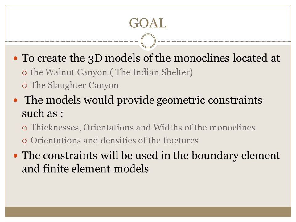 GOAL To create the 3D models of the monoclines located at  the Walnut Canyon ( The Indian Shelter)  The Slaughter Canyon The models would provide geometric constraints such as :  Thicknesses, Orientations and Widths of the monoclines  Orientations and densities of the fractures The constraints will be used in the boundary element and finite element models