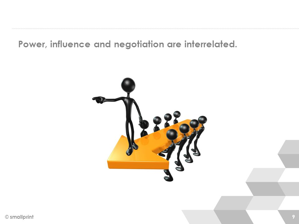 Power, influence and negotiation are interrelated. © smallprint 9
