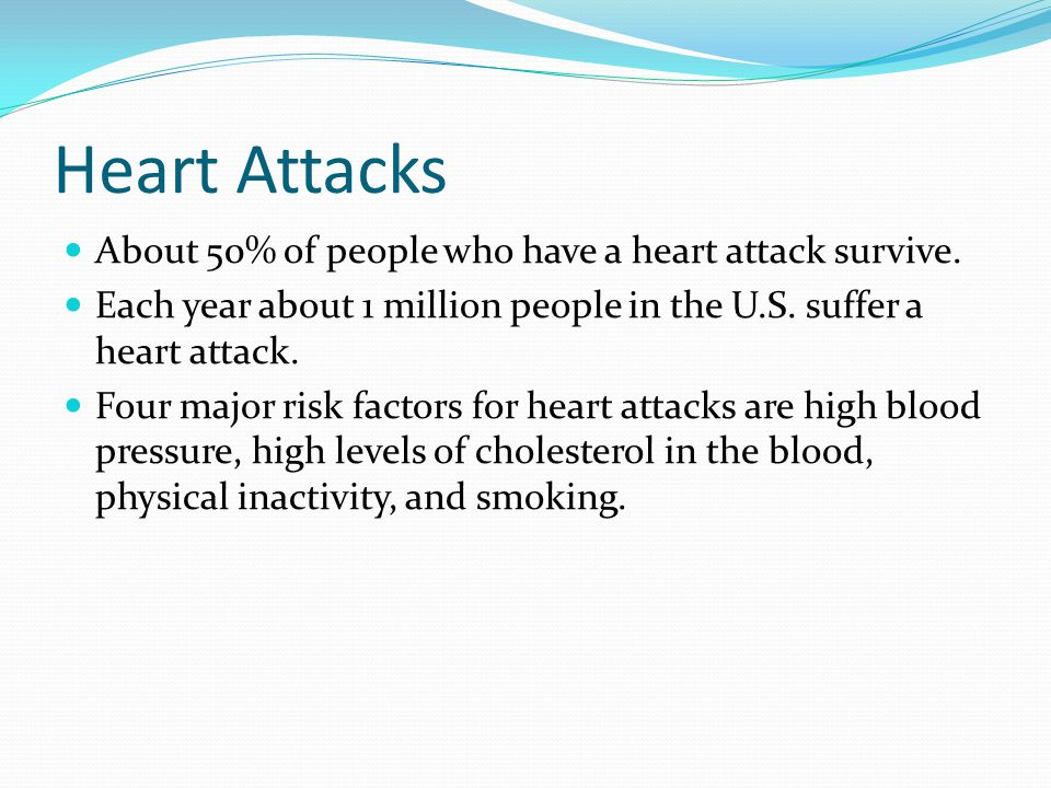 Heart Attacks About 50% of people who have a heart attack survive. Each year about 1 million people in the U.S. suffer a heart attack. Four major risk