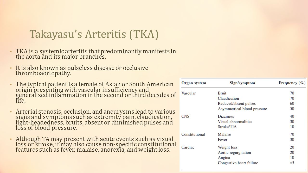Takayasu's Arteritis (TKA) TKA is a systemic arteritis that predominantly manifests in the aorta and its major branches. It is also known as pulseless