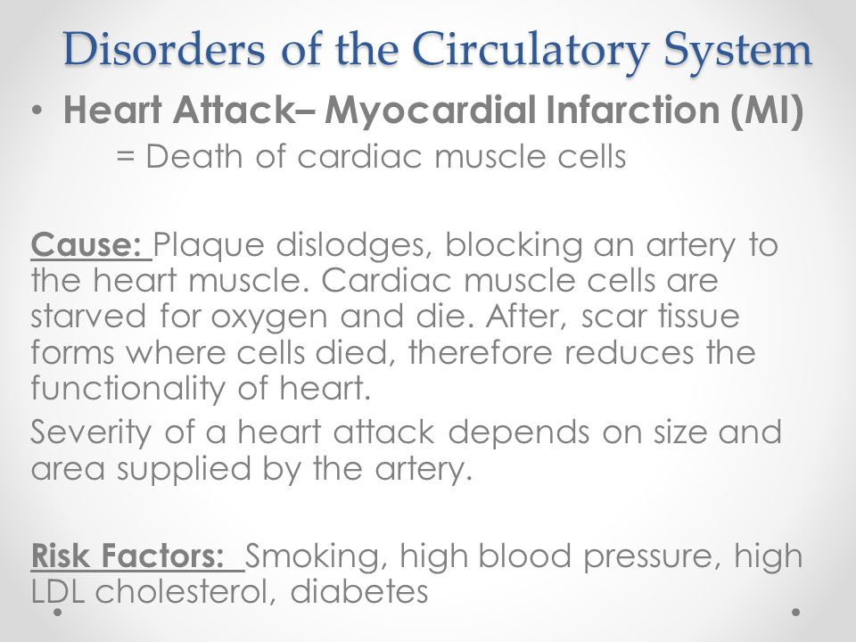 Disorders of the Circulatory System Heart Attack– Myocardial Infarction (MI) = Death of cardiac muscle cells Cause: Plaque dislodges, blocking an arte