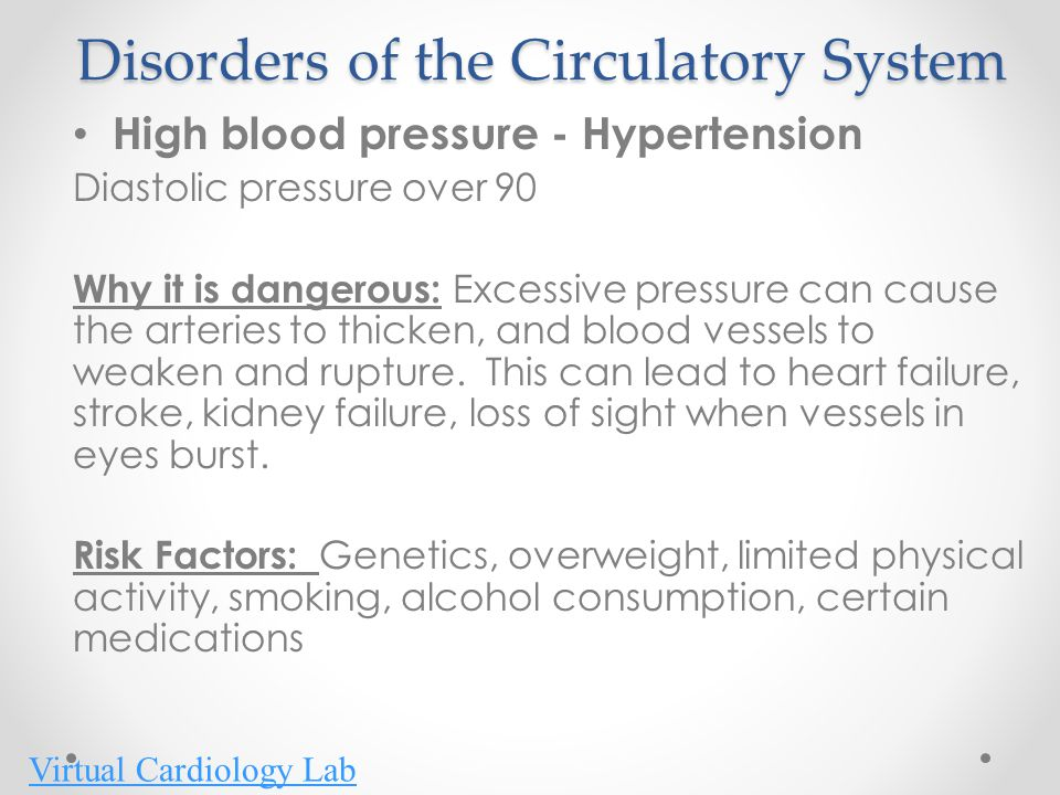 Disorders of the Circulatory System High blood pressure - Hypertension Diastolic pressure over 90 Why it is dangerous: Excessive pressure can cause th
