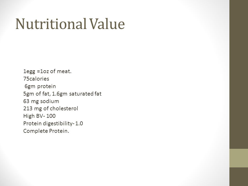 Nutritional Value 1egg =1oz of meat.