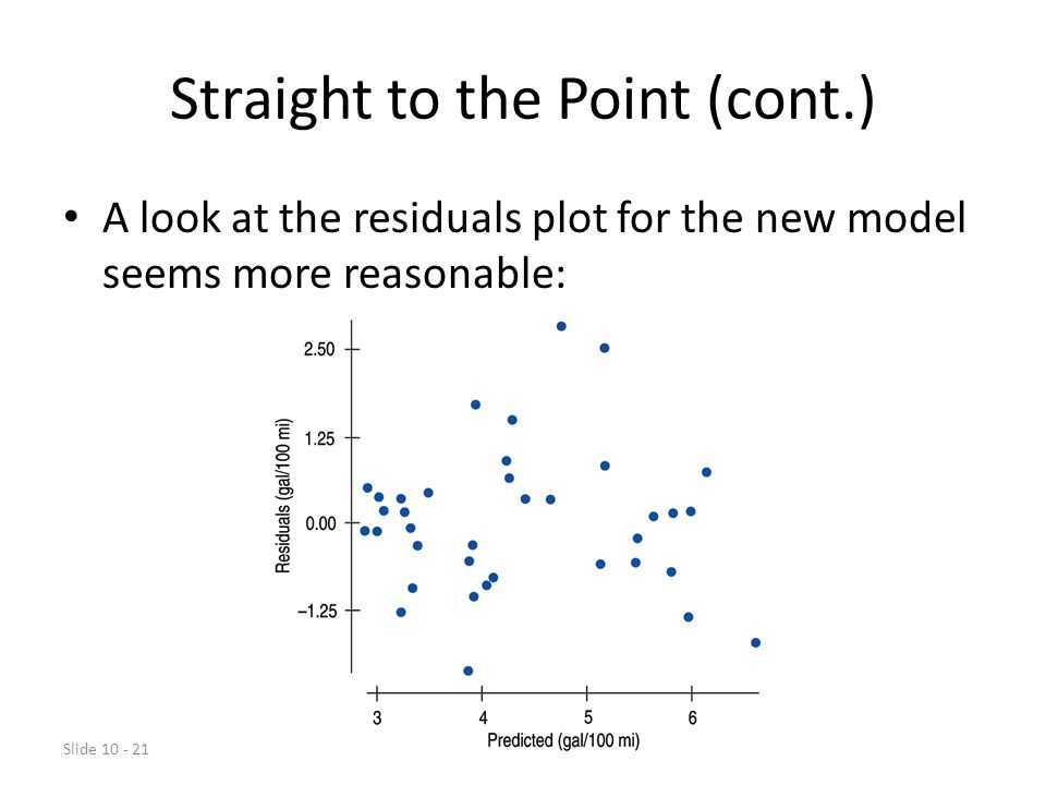 Slide 10 - 21 Straight to the Point (cont.) A look at the residuals plot for the new model seems more reasonable: