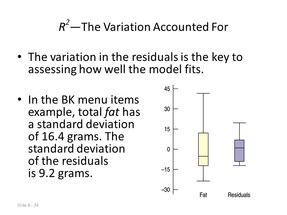 Slide 8 - 34 R 2 —The Variation Accounted For The variation in the residuals is the key to assessing how well the model fits.