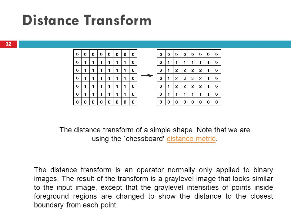 Distance Transform 32 The distance transform of a simple shape. Note that we are using the `chessboard' distance metric.distance metric The distance t